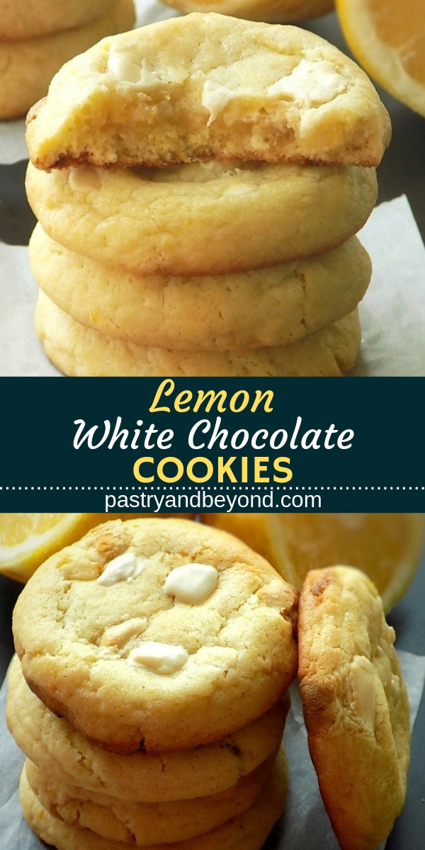 Lemon white chocolate cookies with text overlay.