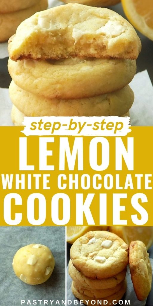 Stacked lemon white chocolate cookies.