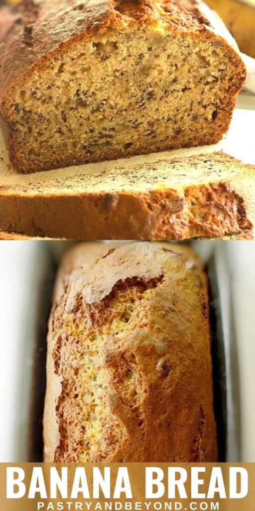 Banana loaf bread cut in half with text overlay.