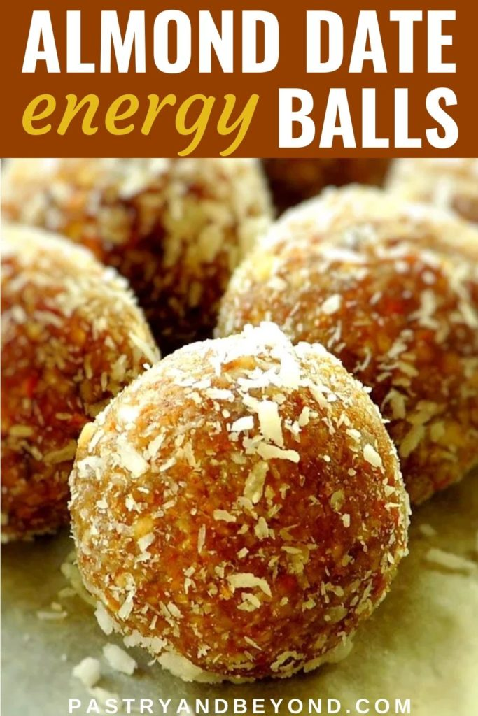 Almond date balls with text overlay.