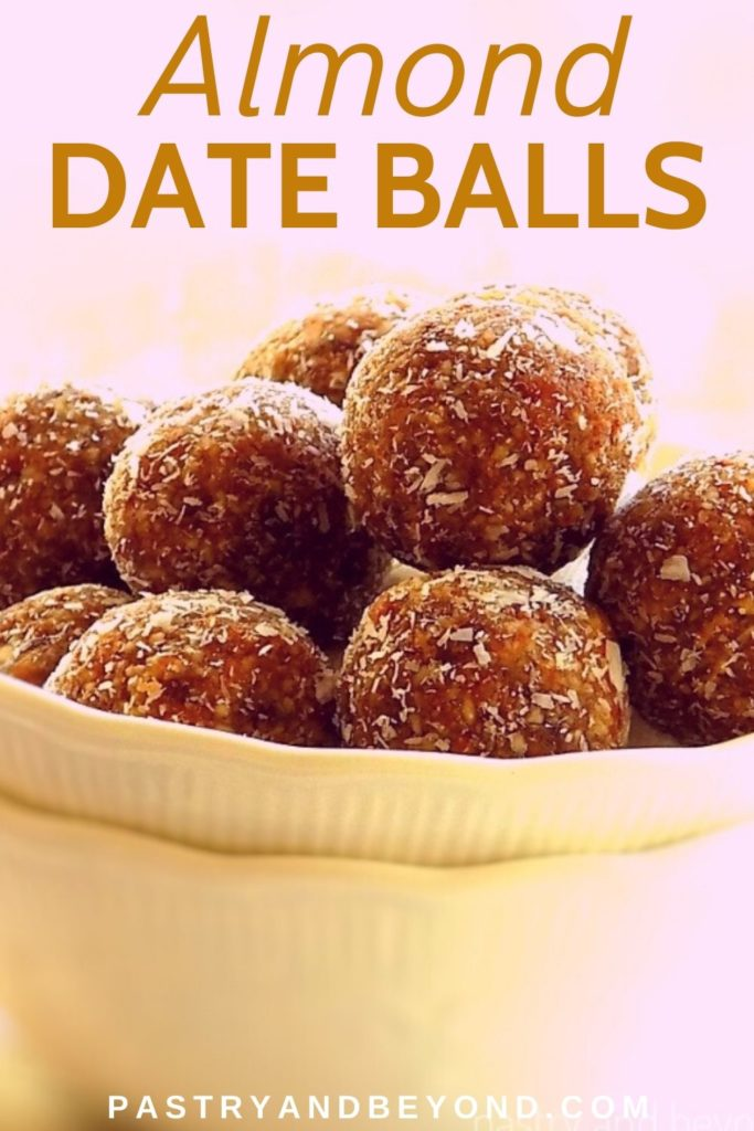 Amond Date Balls in a small white bowl.
