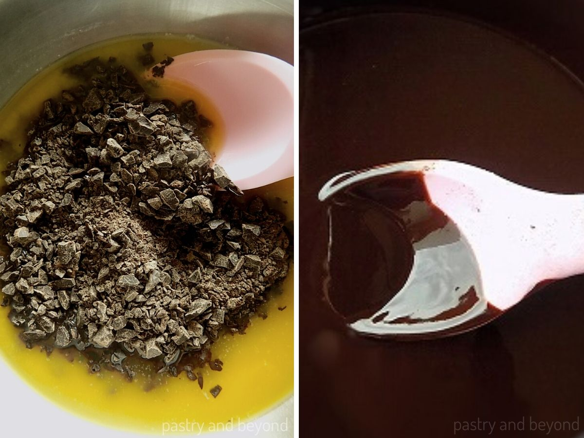 Chopped chocolate is added into the melted butter and mixed with a pink spoon spatula.