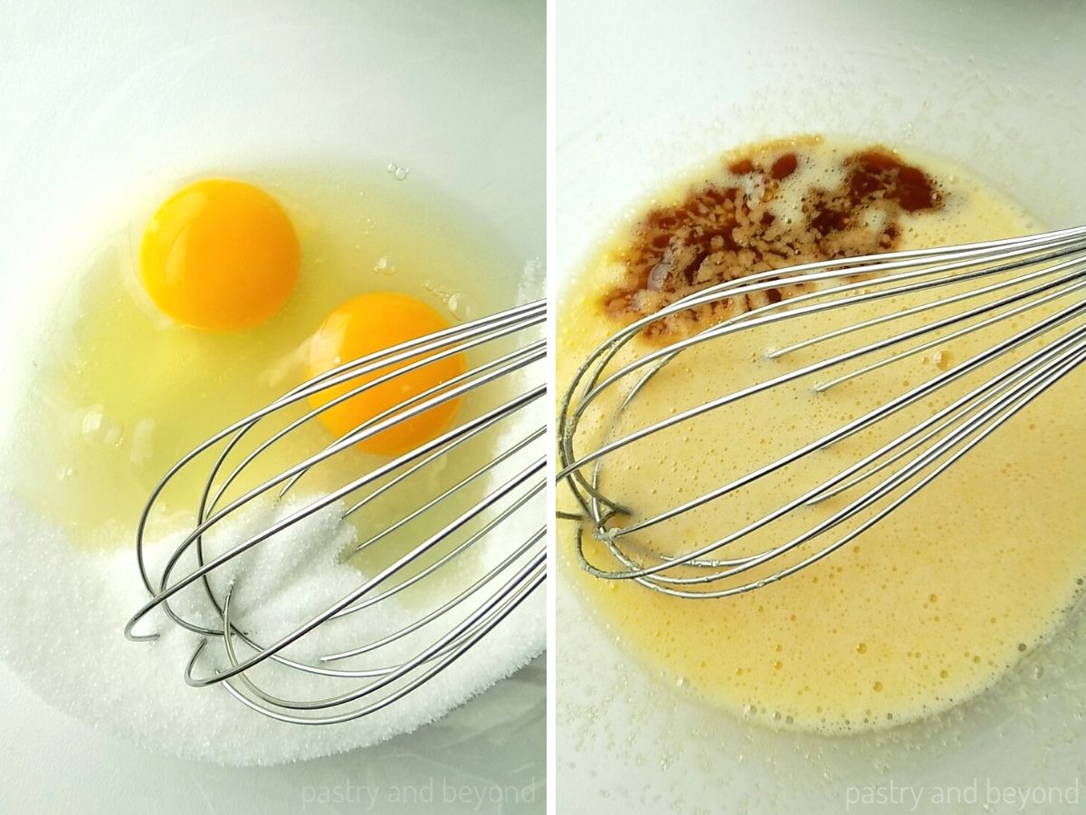 Sugar and eggs in a bowl with a whisk, vanilla is added into the mixture to make a brownie batter..