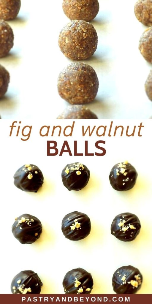 Chocolate covered fig and walnut balls