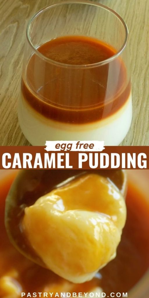 Caramel pudding in a glass and on a spoon with text overlay.