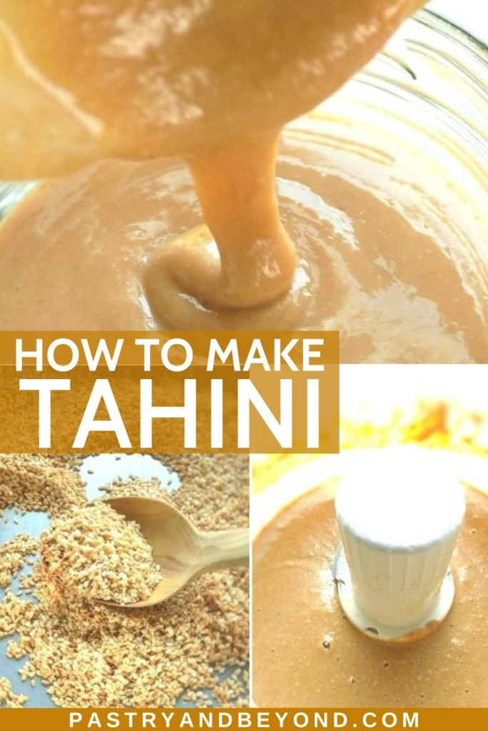 Collage of homemade tahini and steps of making it.