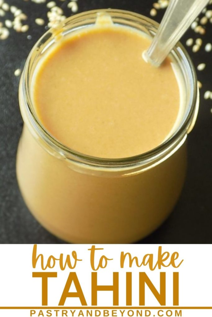 Tahini in a jar with a spoon with text overlay.