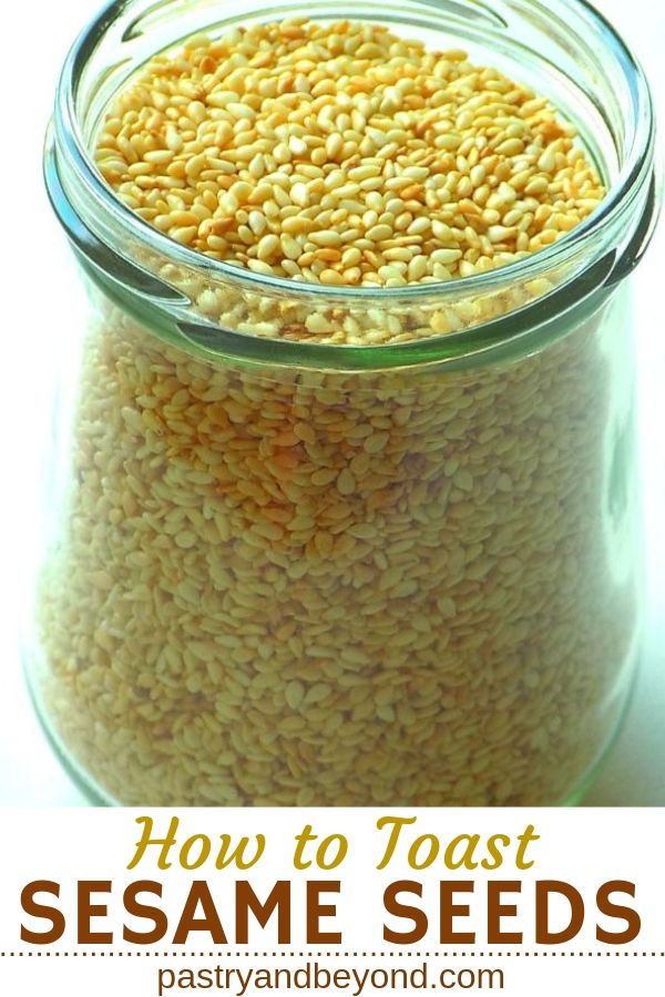 Toasted sesame seeds in a jar.