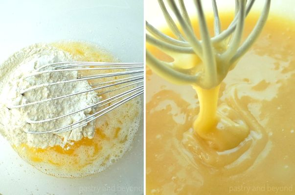 Mixing in the butter and flour into the egg mixture. The batter dripping from the whisk.