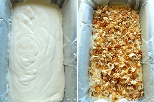 Pouring the ice cream mixture into the pan and adding candied hazelnuts on top.