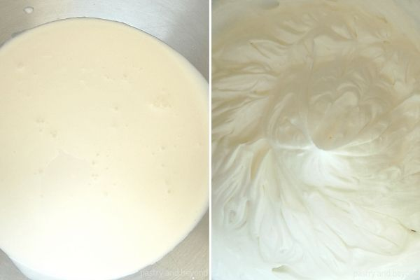 Heavy Cream in a mixer bowl in the first picture and heavy cream after whipped in the second picture.