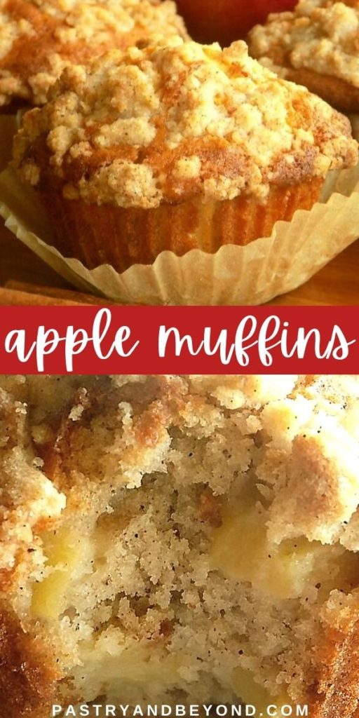Pin for apple crumble muffins that shows both as a whole and inside.