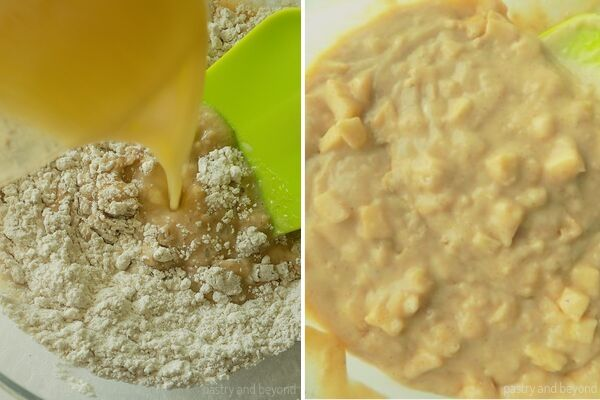 Adding the wet ingredients into the dry ingredients and folding the apples into the batter to make apple muffins.