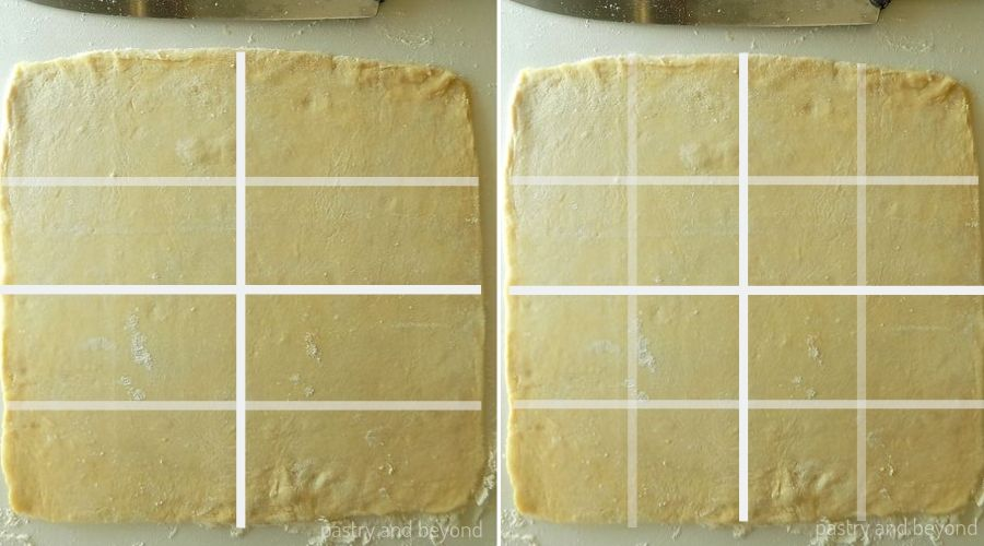 Cutting square dough into 16 mini squares with white lines as an example.