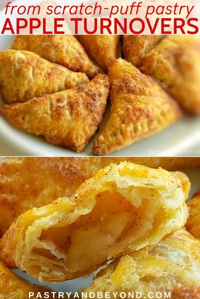 Collage of mini apple turnovers and half of apple turnover.