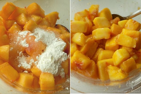 Collage for adding cornstarch and sugar on to the peaches and mixing with a metal spoon.