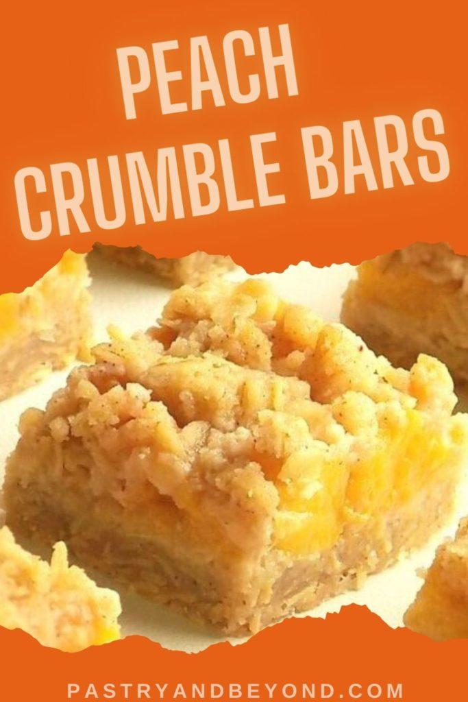 Peach crumble bar with text overlay.