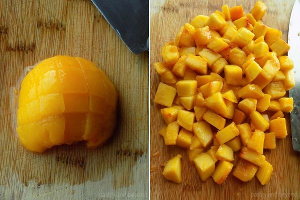 Collage for chopping peaches as cubes on a cutting board.