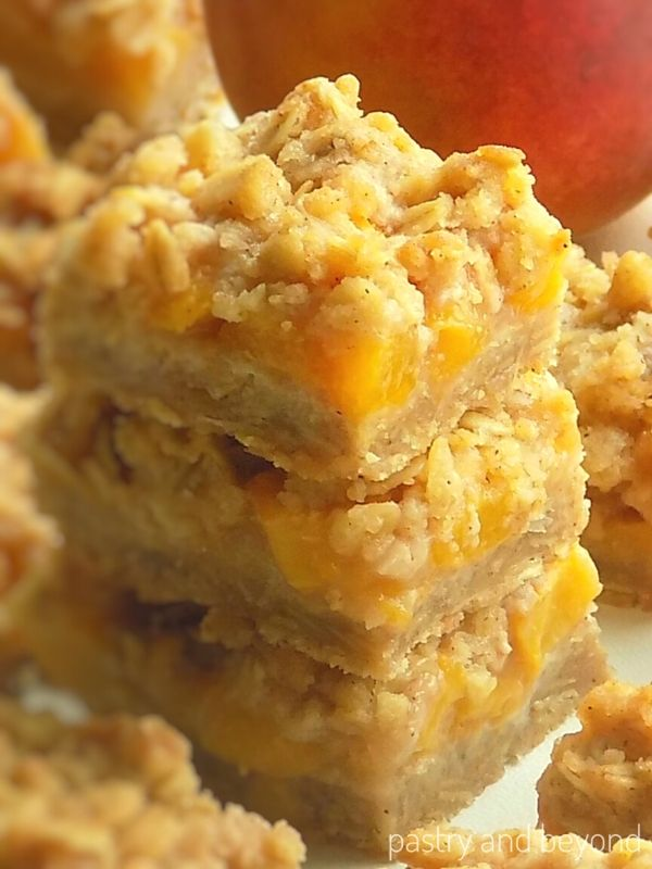 Stacked peach bars.