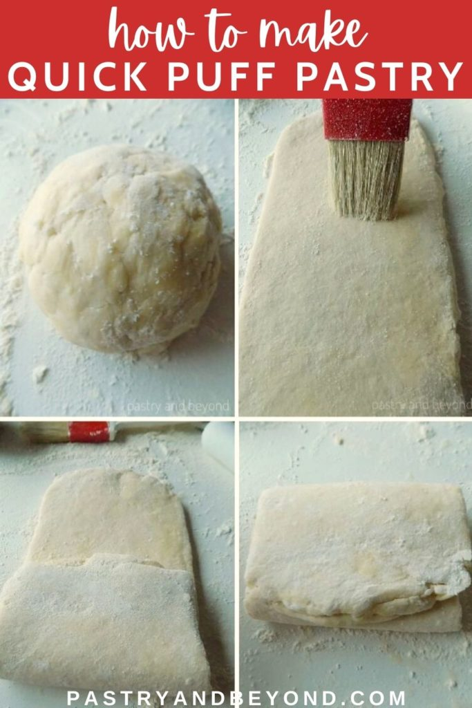 Showing the stages of folding for quick puff pastry.