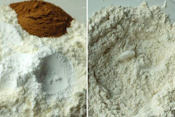 Flour, cinnamon, baking powder and salt in a bowl before and after mixed.