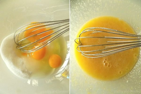 Mixing the sugar and eggs with a whisk in a glass bowl.