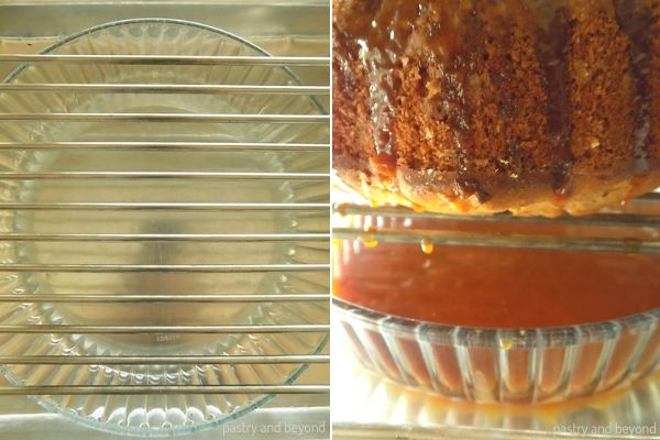 Placing a baking dish under the rack, excess caramel sauce goes to the dish once poured.