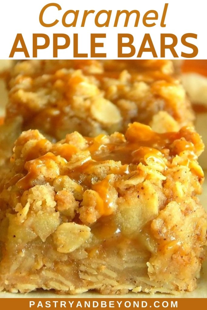 Apple bars with caramel sauce on top.