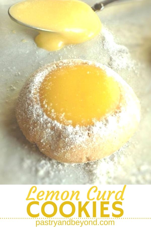 Lemon curd thumbprint cookies with text overlay.
