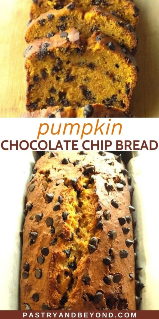 Pin for pumpkin chocolate chip bread