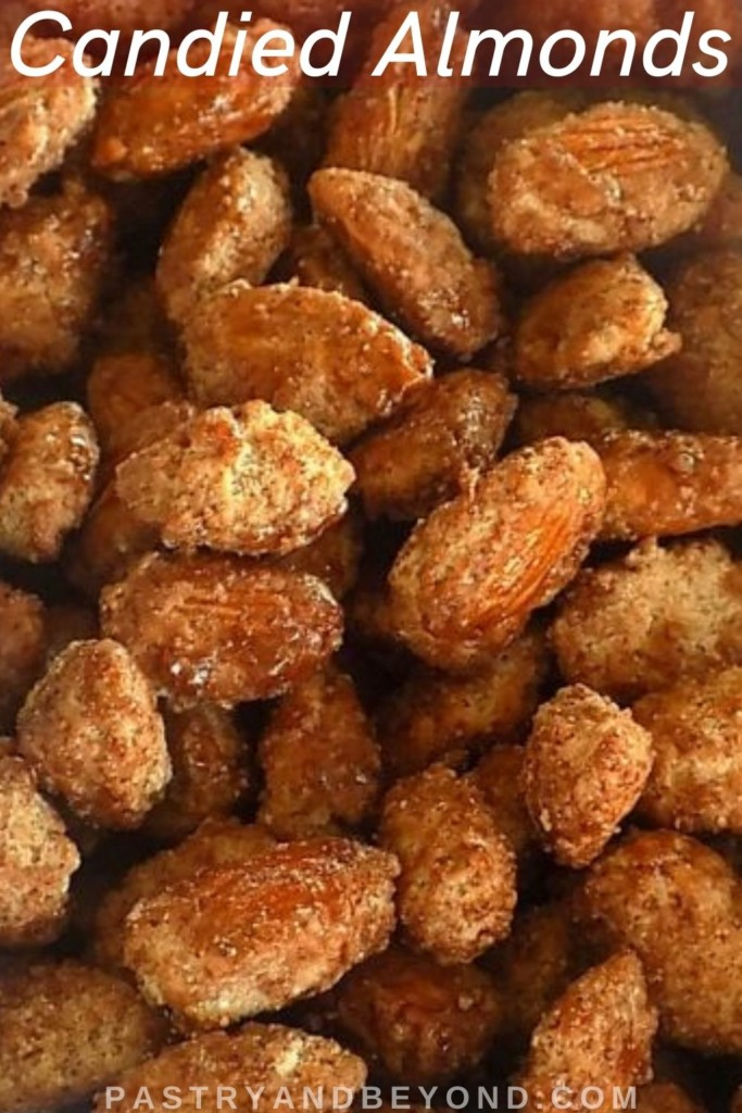 Candied almonds with text overlay.