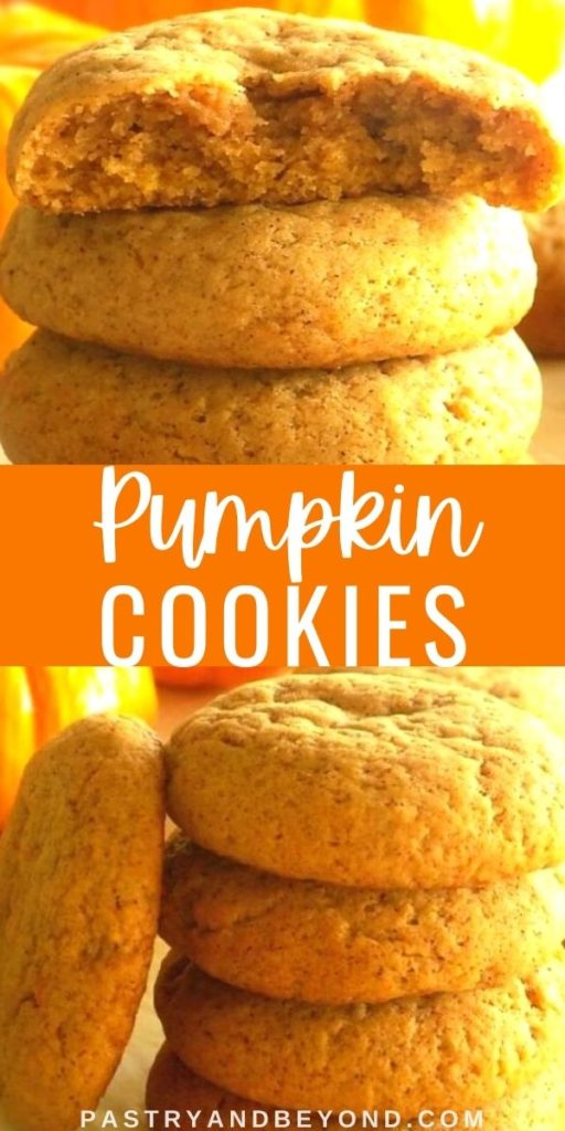 Pumpkin cookies with text overlay.