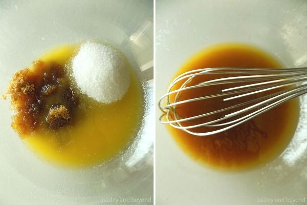 Mixing brown, granulated sugar and melted butter in a bowl with a whisk.