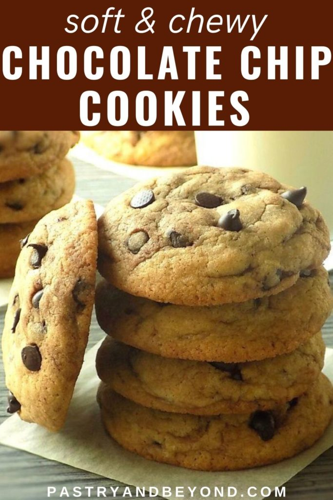 Stacked chocolate chip cookies with text overlay
