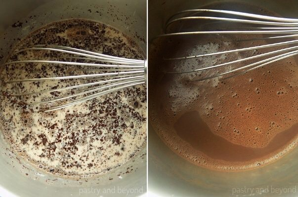Stirring chopped chocolate and milk with a whisk.