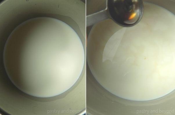 Adding vanilla extract into milk.
