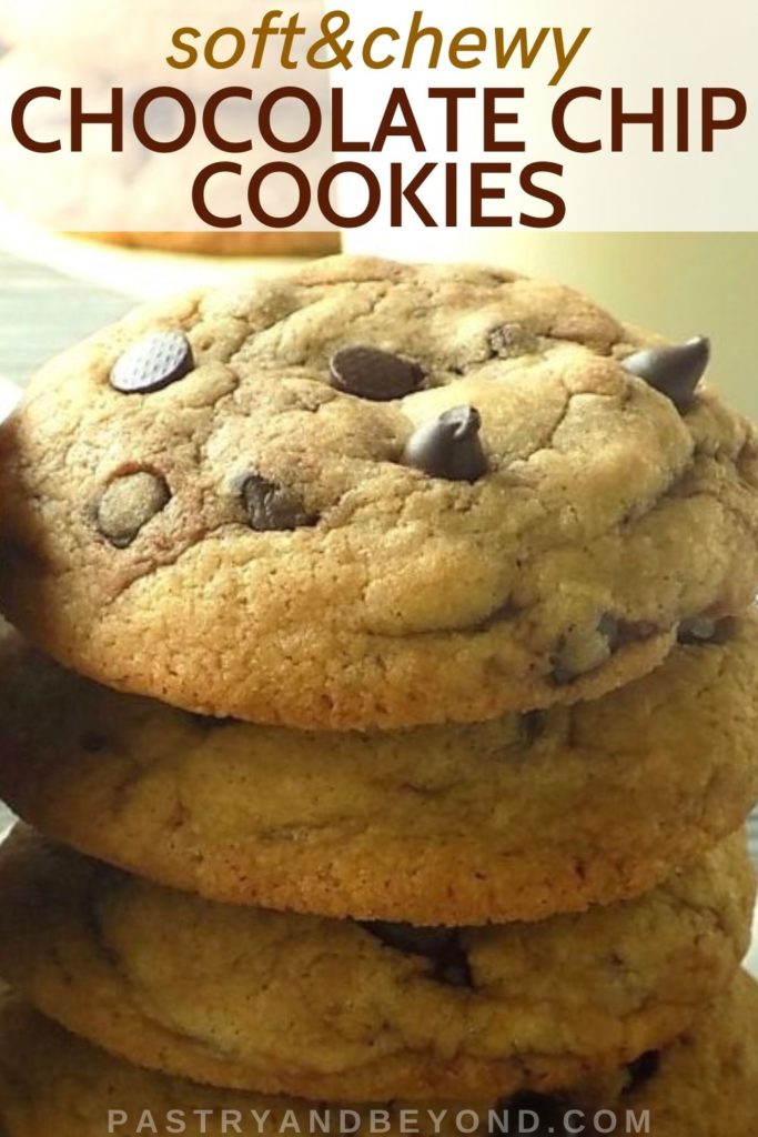 Stacked chocolate chip cookies with text overlay.