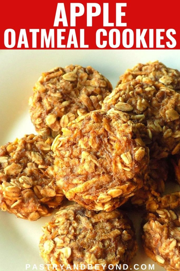 Apple oatmeal cookies on a white plate with text overlay.