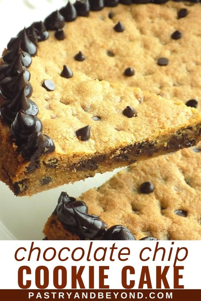 Chocolate chip cookie cake slice decorated with chocolate ganache.