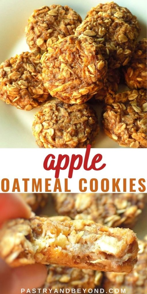 Apple oatmeal cookies on a plate and holding half of the cookie to show inside.