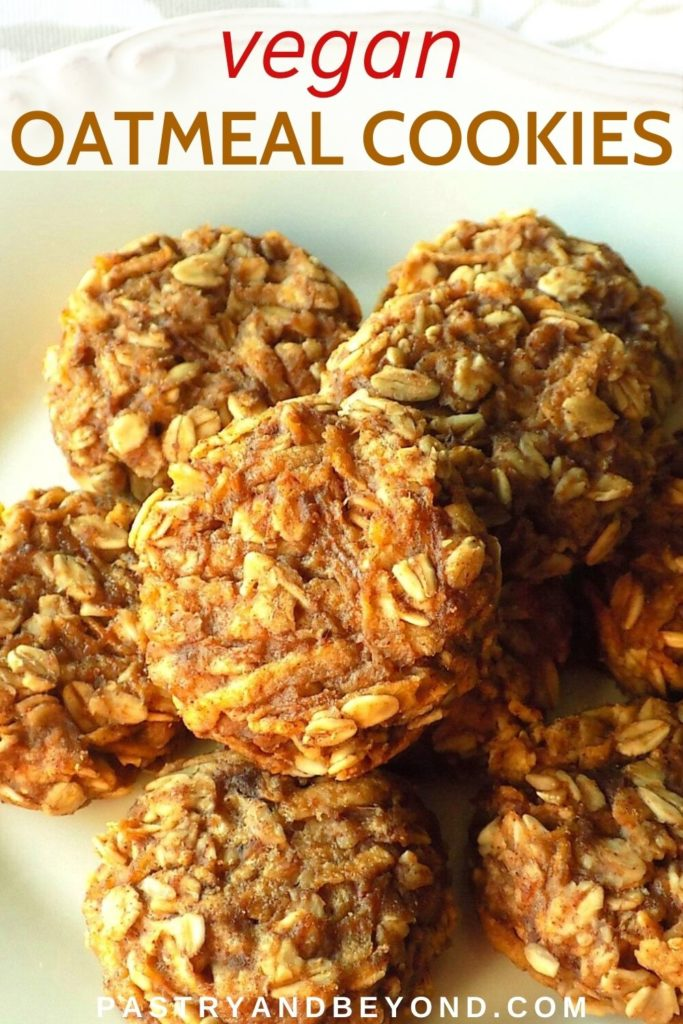 Apple oatmeal cookies on a plate.