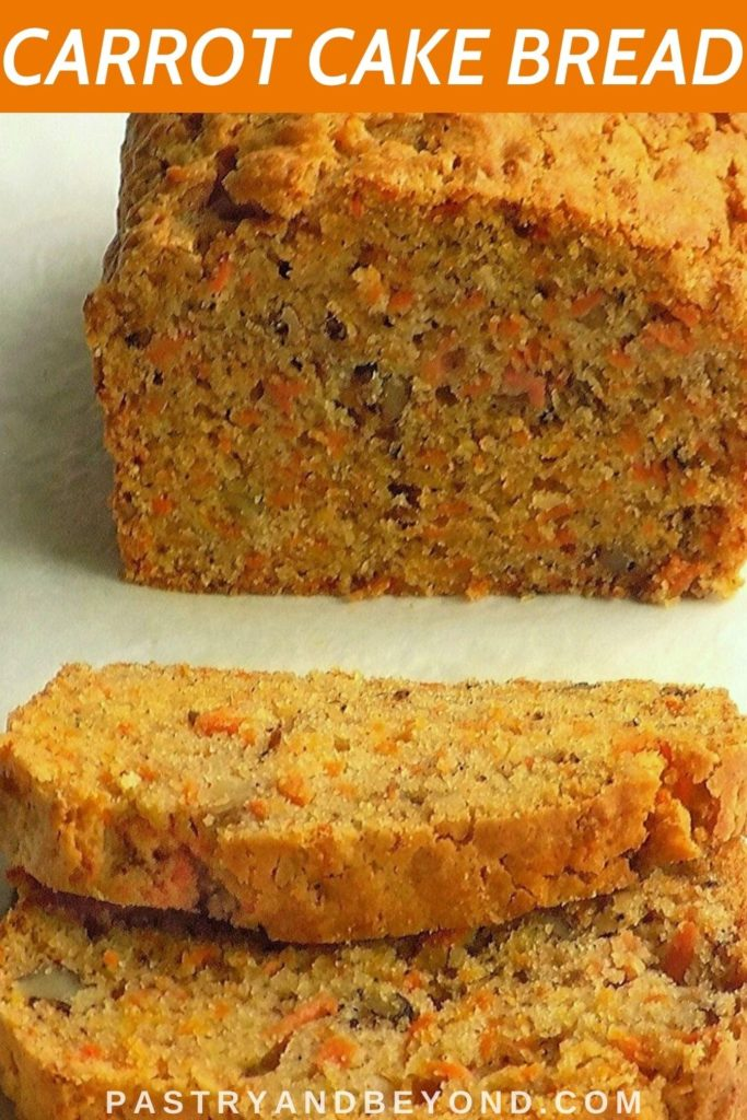 Carrot cake loaf with text overlay