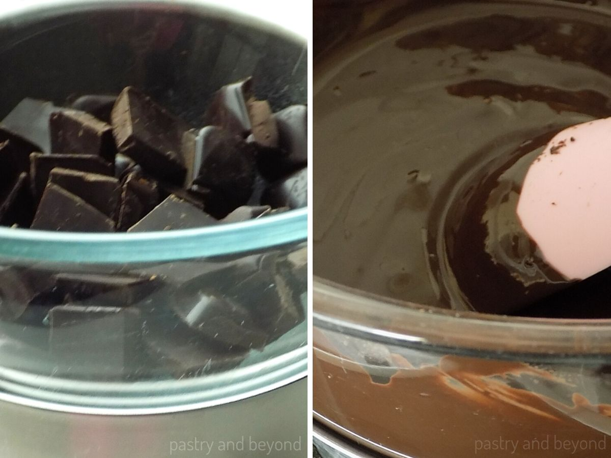 Melting the chopped chocolate over bain marie and stirring with a spoon..
