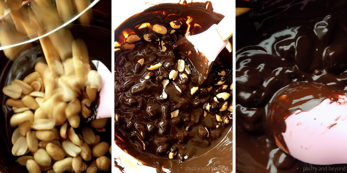 Adding the peanuts into the melted chocolate and stirring until combined.