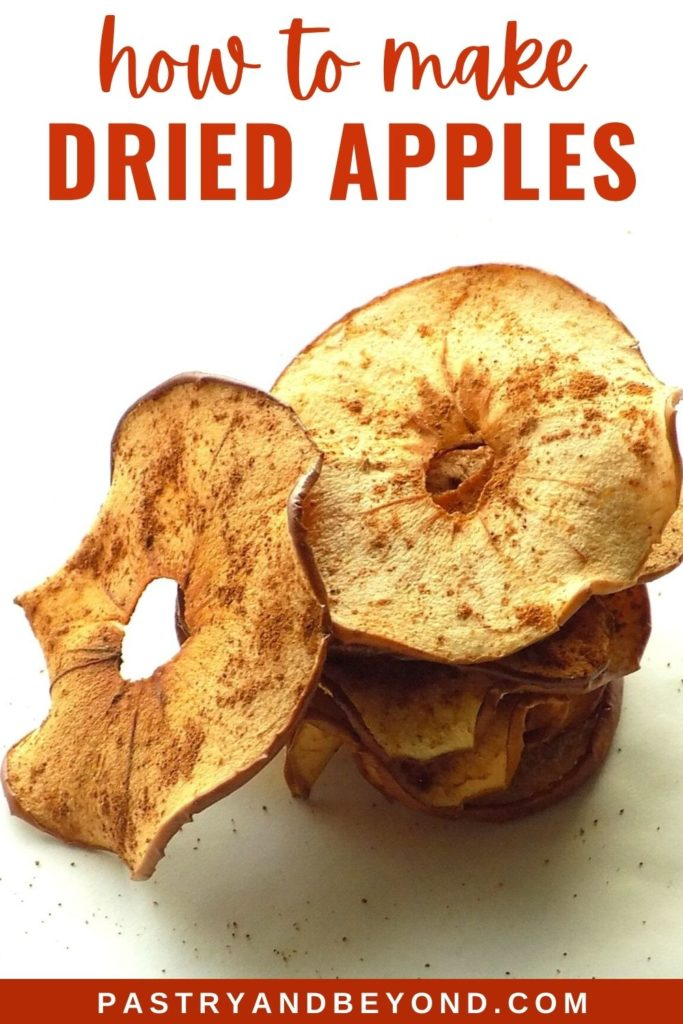 Stacked dried apple with text overlay.