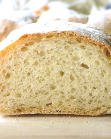 No knead bread on a wooden surface.