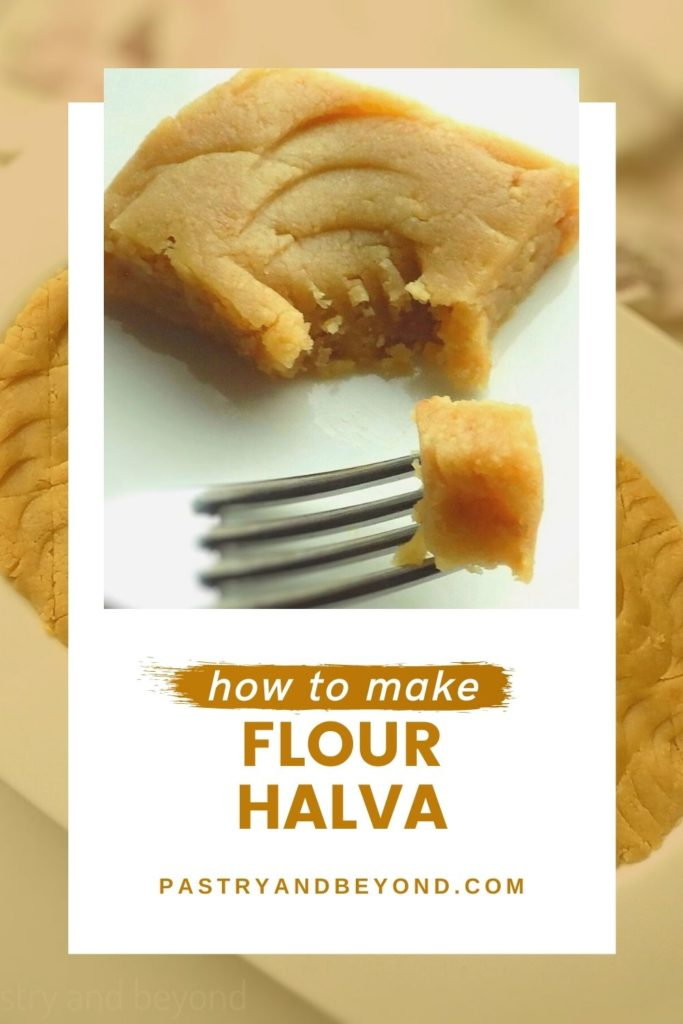 Flour halva with text overlay.