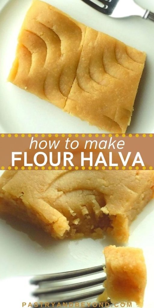 Slice of Turkish flour halva with text overlay.