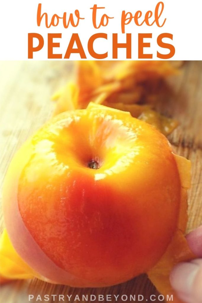 Peeling a peach with hand.