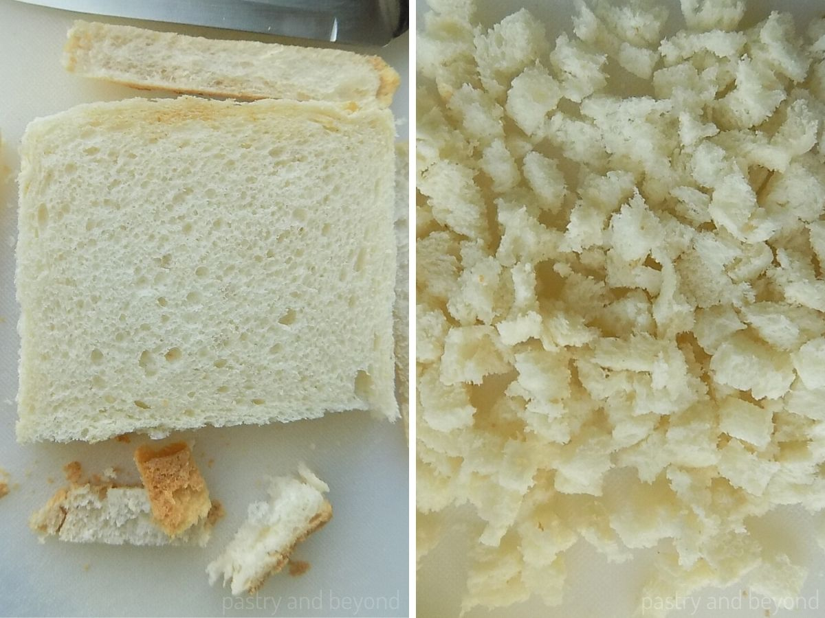 A slice of bread torn into pieces